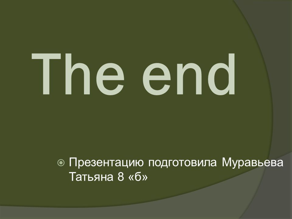 The end Презентацию подготовила Муравьева Татьяна 8 «б»