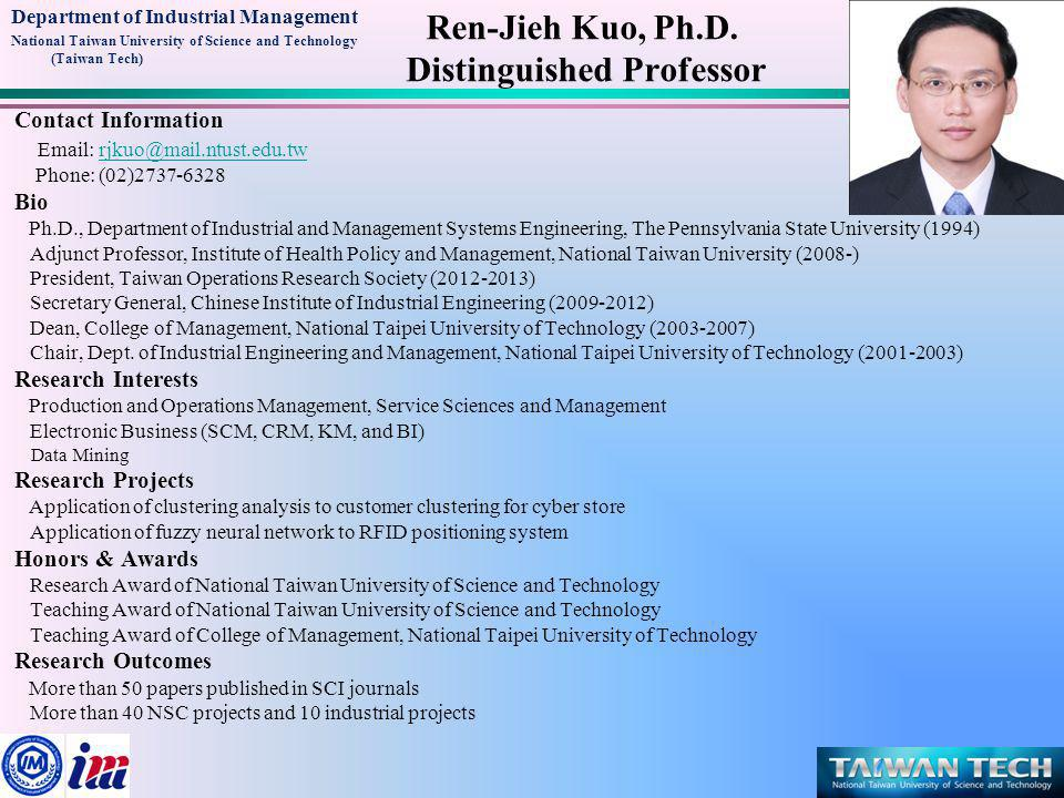 Department of Industrial Management National Taiwan University of Science and Technology (Taiwan Tech) Contact Information Email: cjoelin@mail.ntust.edu.twcjoelin@mail.ntust.edu.tw Phone: (02)2737-6352 Education Ph.D., Industrial Engineering, Texas Tech University Professional Experience Professor, Chung Yuan Christian University President, Ergonomics Society of Taiwan Council Member, Pan-Pacific Council on Ergonomics Research Interests Ergonomics, Occupational Biomechanics, Human Motion Analysis and Simulation, Human Machine Interaction and Interface Design, Virtual Reality for User Experience Design Honors & Awards 2010, Conference Chair, the 9th Pan-Pacific Conference on Ergonomic (PPCOE 2010) 1999, International Journal of Industrial Ergonomics Best Paper Award (Liberty Mutual) Chiuhsiang Joe Lin, Ph.D.