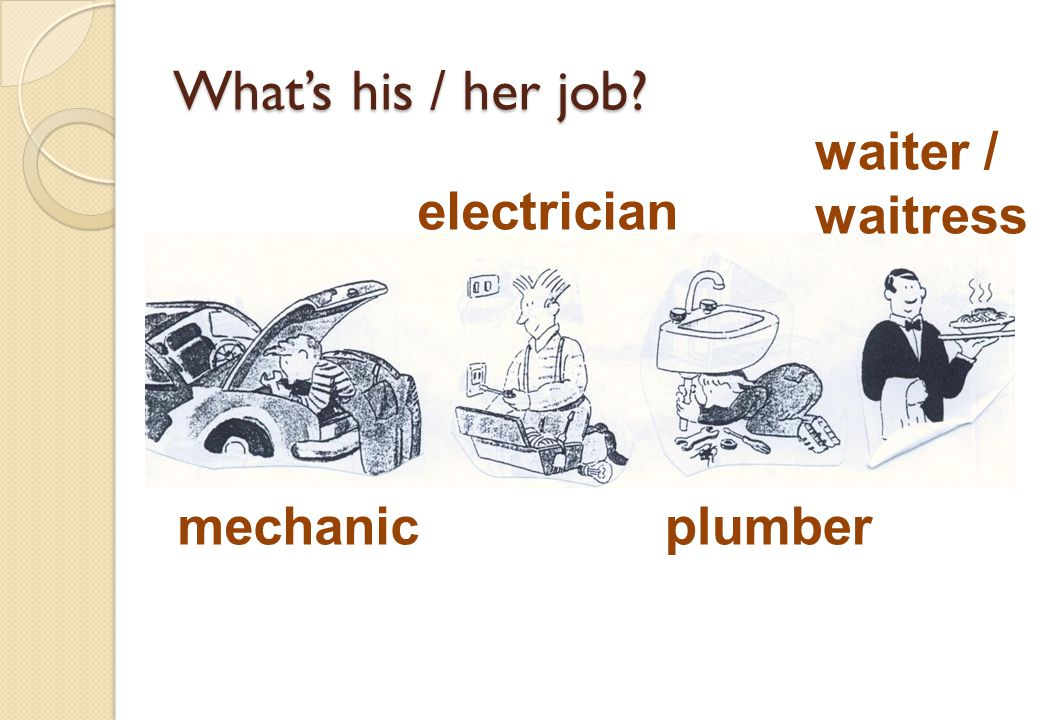 Whats his / her job? mechanic electrician plumber waiter / waitress
