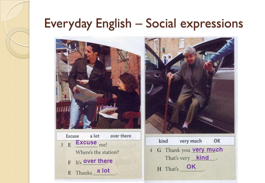 Everyday English – Social expressions Excuse over there a lot very much kind OK