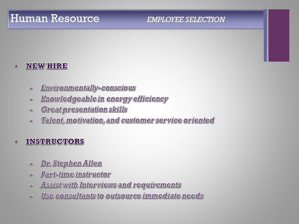+ Human Resource EMPLOYEE SELECTION