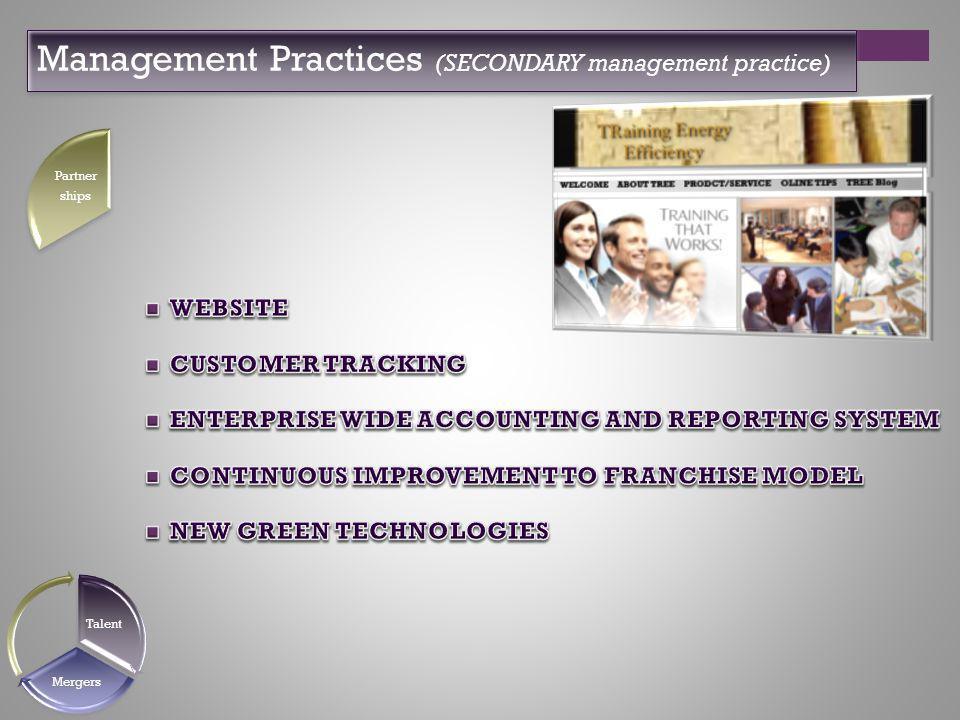 Management Practices (SECONDARY management practice) Partner ships Talent Mergers