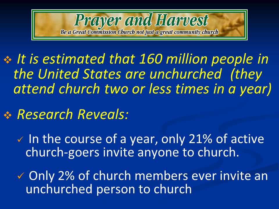 It is estimated that 160 million people in the United States are unchurched (they attend church two or less times in a year) Research Reveals: In the