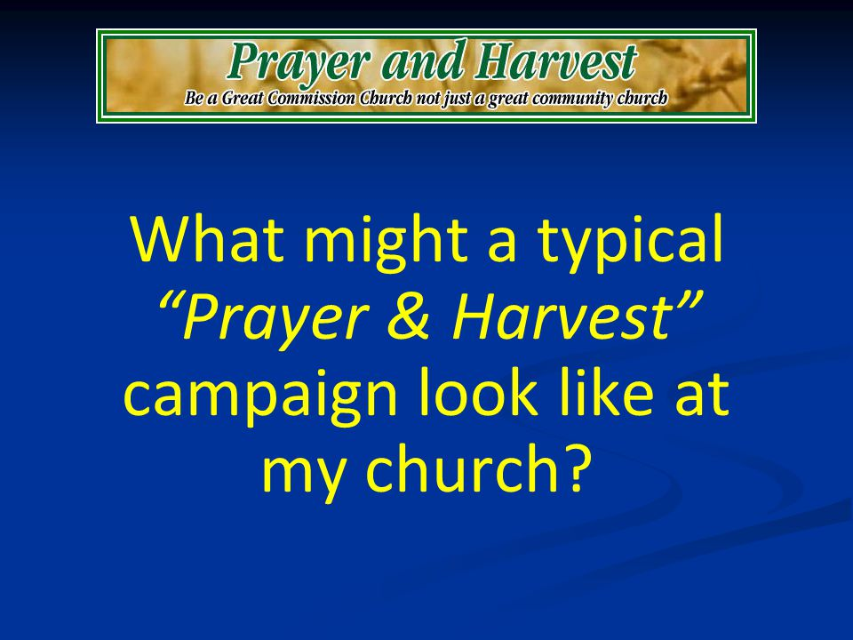 What might a typical Prayer & Harvest campaign look like at my church?