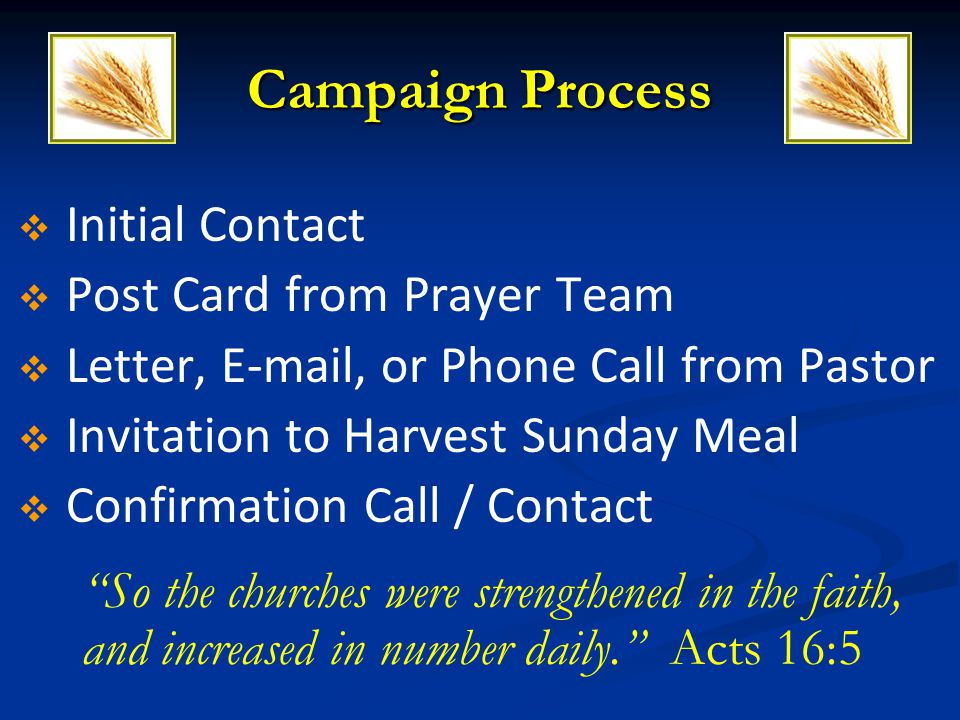 Campaign Process Initial Contact Post Card from Prayer Team Letter, E-mail, or Phone Call from Pastor Invitation to Harvest Sunday Meal Confirmation C