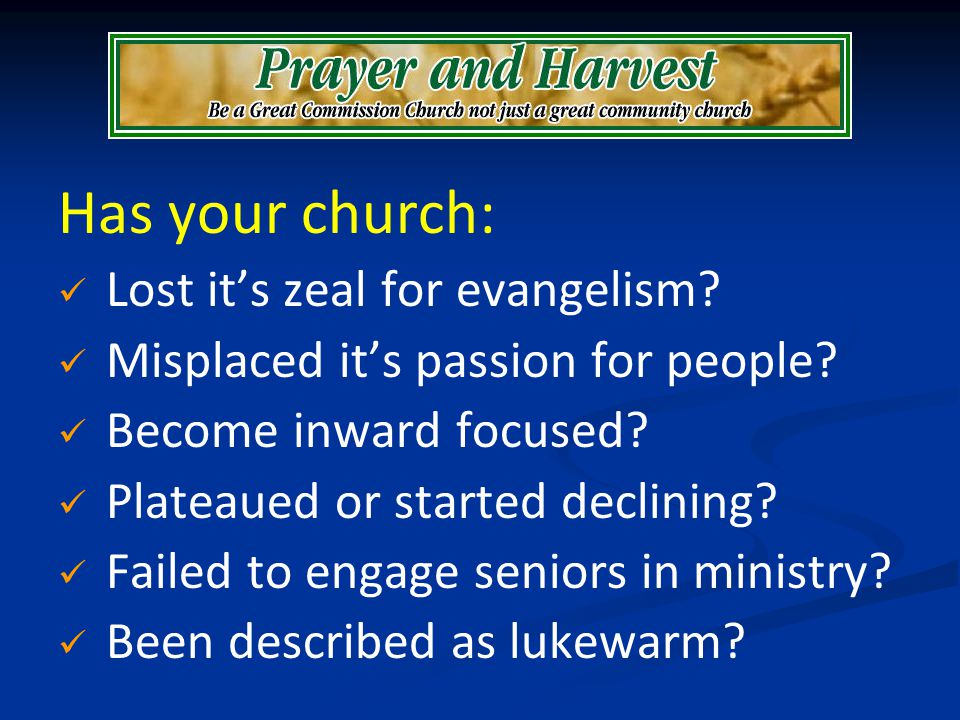 Has your church: Lost its zeal for evangelism? Misplaced its passion for people? Become inward focused? Plateaued or started declining? Failed to enga