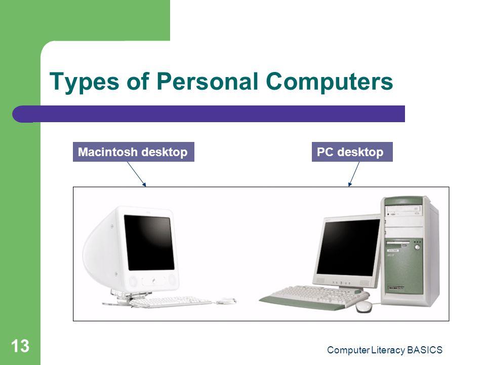 Computer Literacy BASICS 13 Types of Personal Computers Macintosh desktopPC desktop