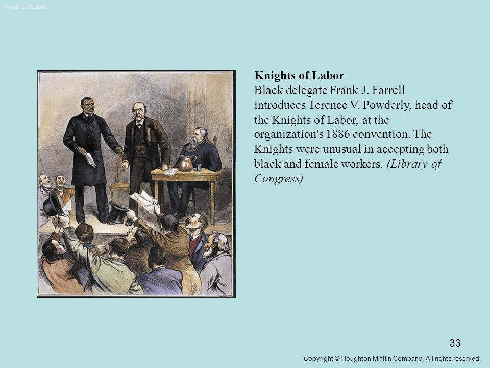 33 Knights of Labor Black delegate Frank J. Farrell introduces Terence V. Powderly, head of the Knights of Labor, at the organization's 1886 conventio