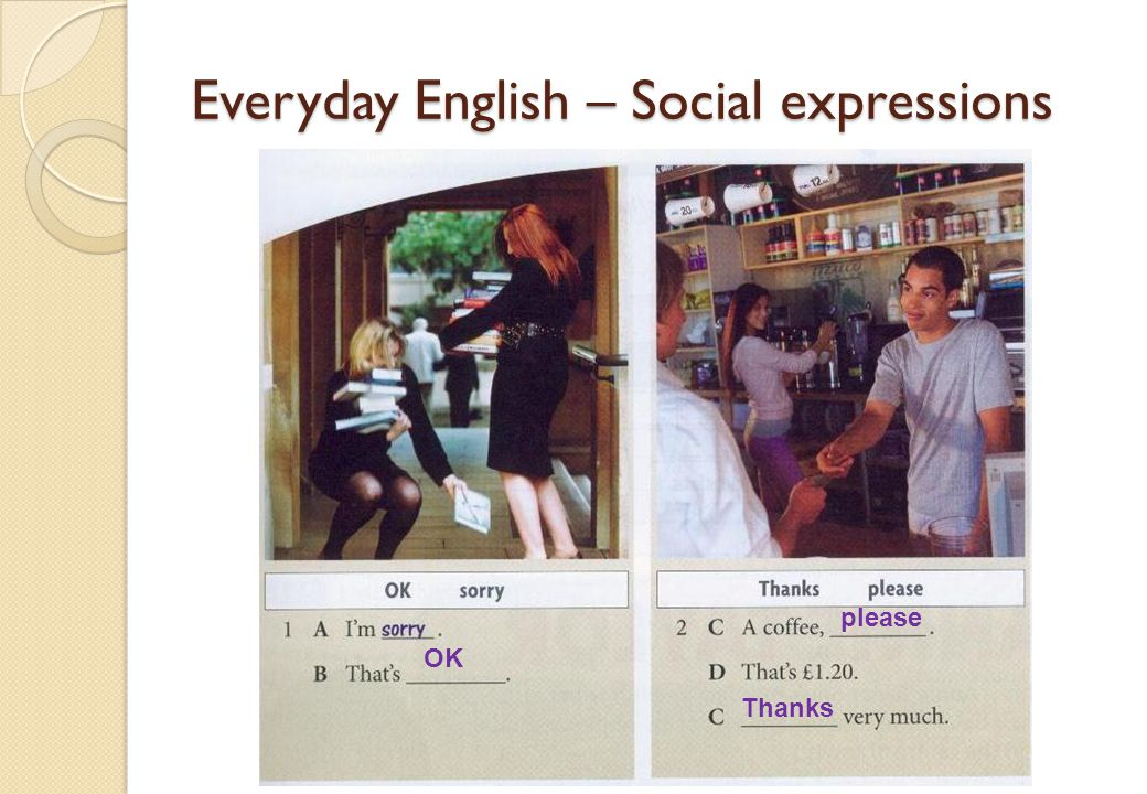 Everyday English – Social expressions OK please Thanks