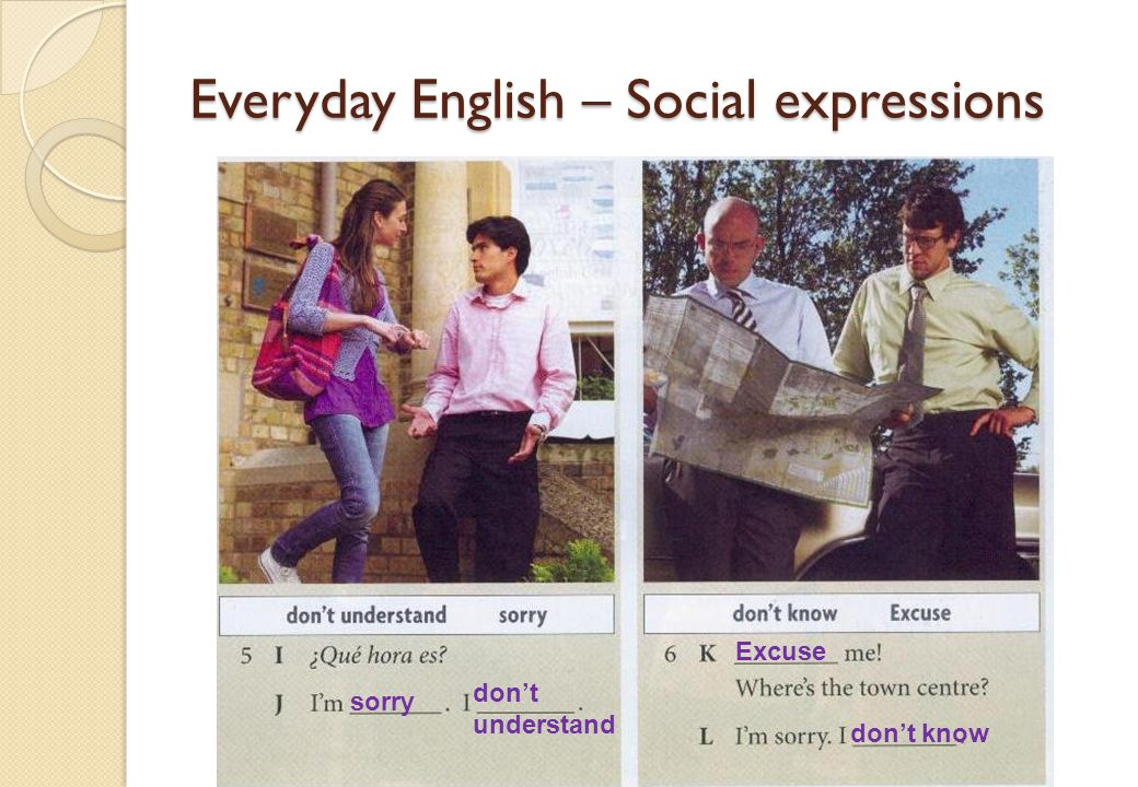 Everyday English – Social expressions sorry dont understand Excuse dont know