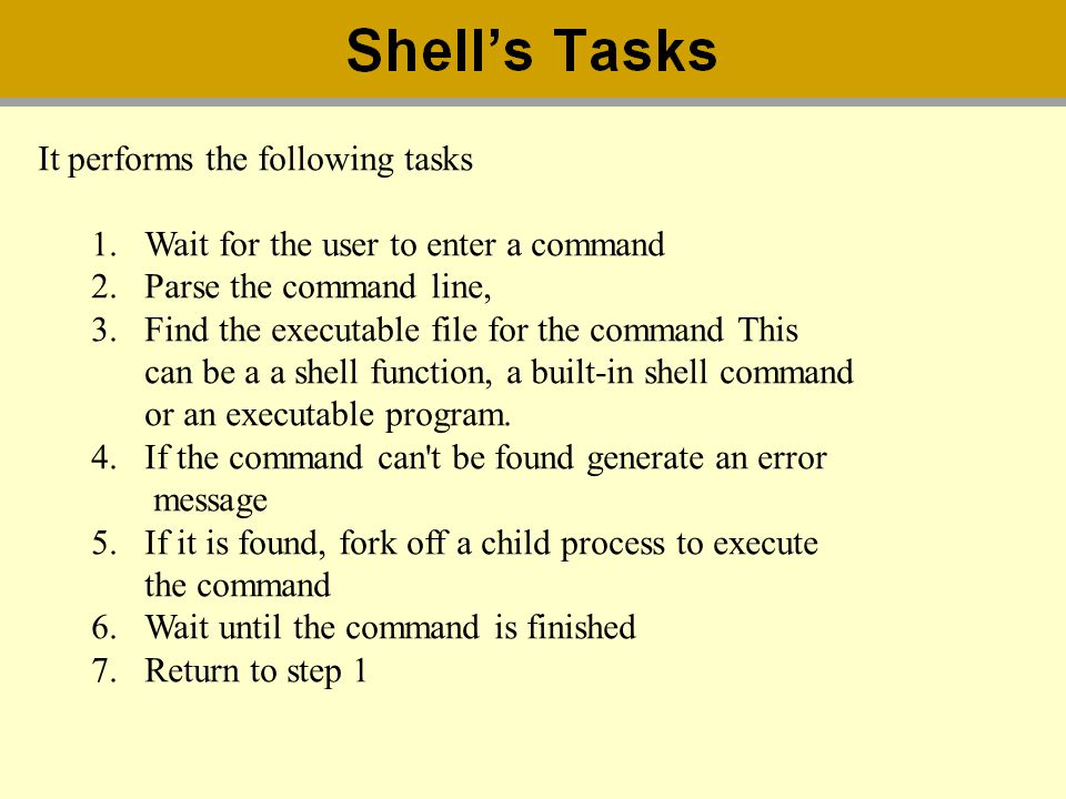 It performs the following tasks 1.Wait for the user to enter a command 2.Parse the command line, 3.Find the executable file for the command This can b