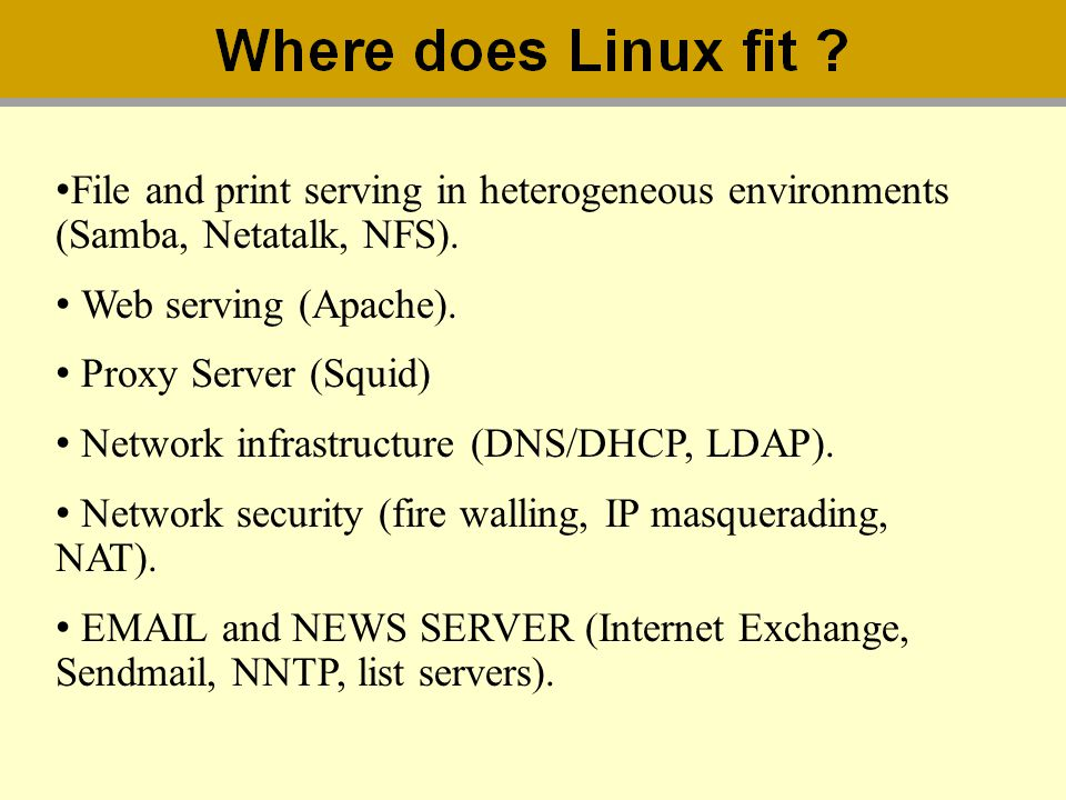 File and print serving in heterogeneous environments (Samba, Netatalk, NFS). Web serving (Apache). Proxy Server (Squid) Network infrastructure (DNS/DH