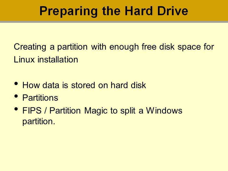 Creating a partition with enough free disk space for Linux installation How data is stored on hard disk Partitions FIPS / Partition Magic to split a W