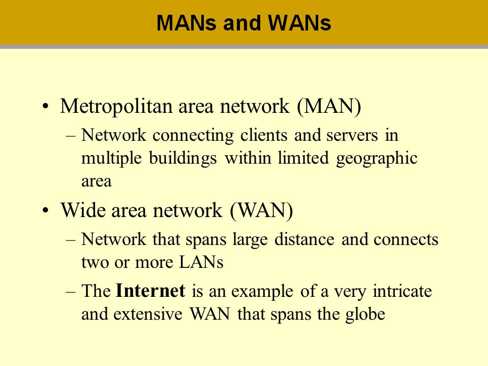 Metropolitan area network (MAN) –Network connecting clients and servers in multiple buildings within limited geographic area Wide area network (WAN) –