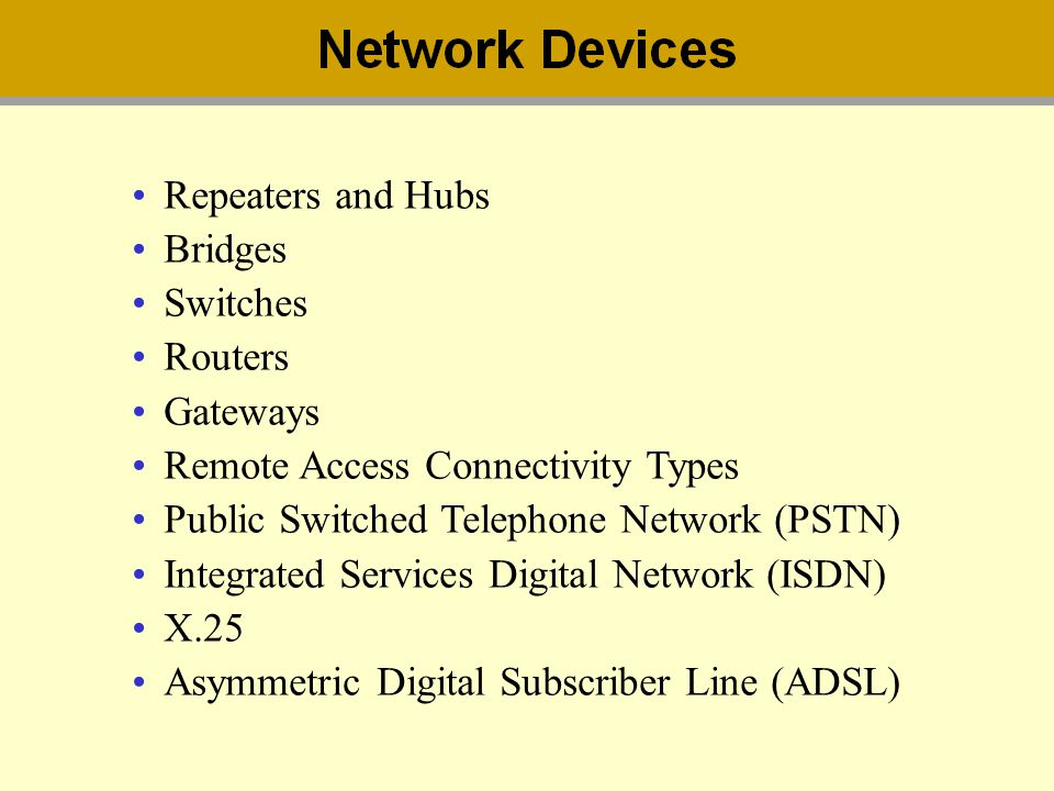 Repeaters and Hubs Bridges Switches Routers Gateways Remote Access Connectivity Types Public Switched Telephone Network (PSTN) Integrated Services Dig