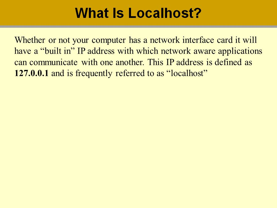 Whether or not your computer has a network interface card it will have a built in IP address with which network aware applications can communicate wit