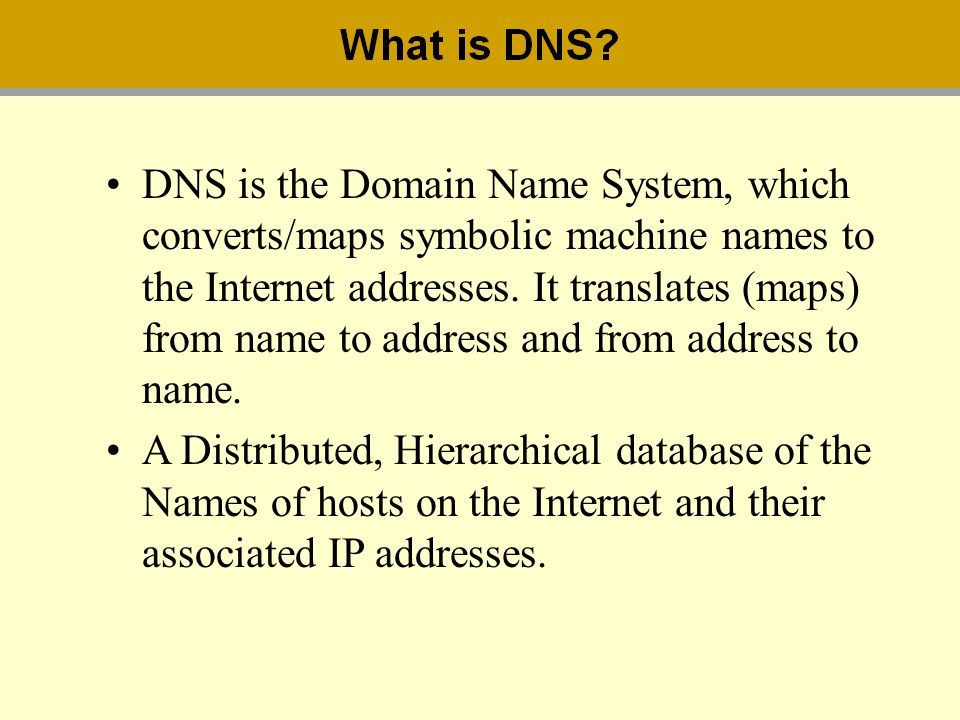 DNS is the Domain Name System, which converts/maps symbolic machine names to the Internet addresses. It translates (maps) from name to address and fro