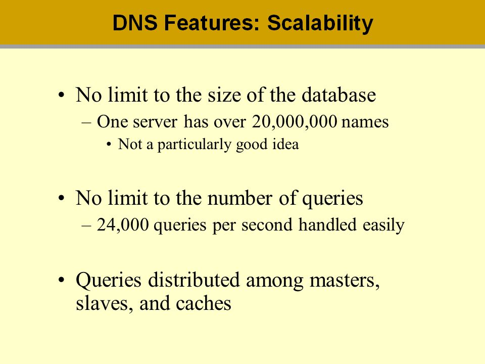 No limit to the size of the database –One server has over 20,000,000 names Not a particularly good idea No limit to the number of queries –24,000 quer