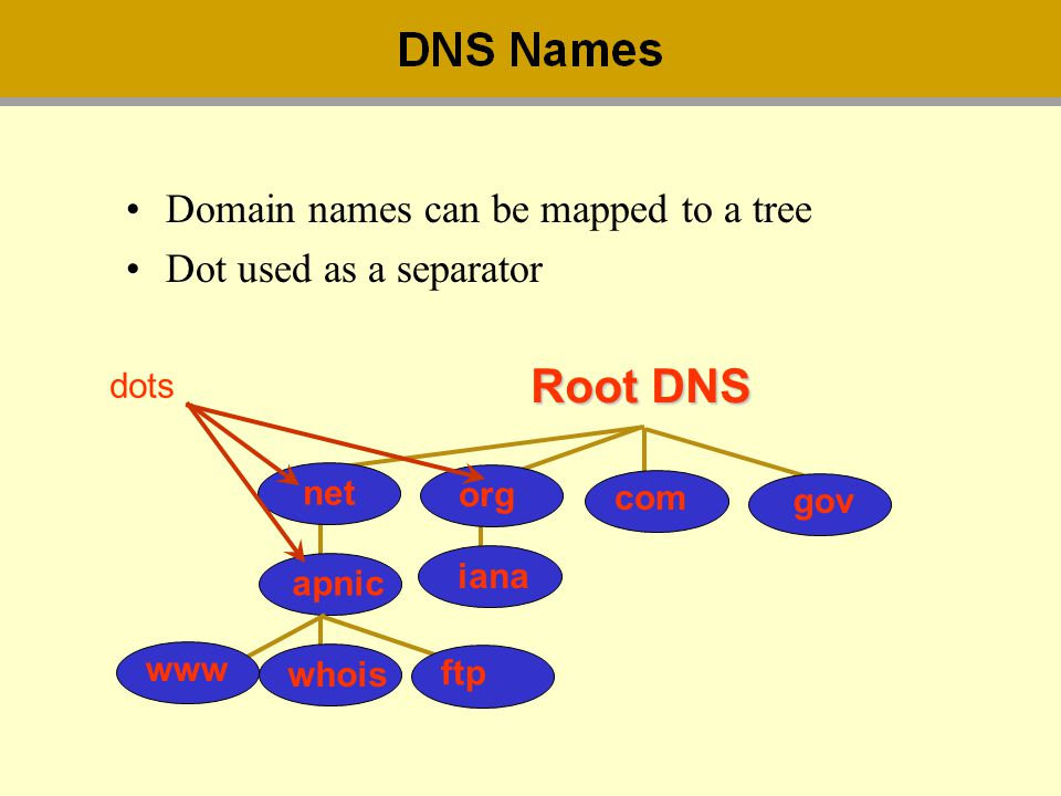 Domain names can be mapped to a tree Dot used as a separator whois Root DNS net com whois apnic ftp www iana org dots gov