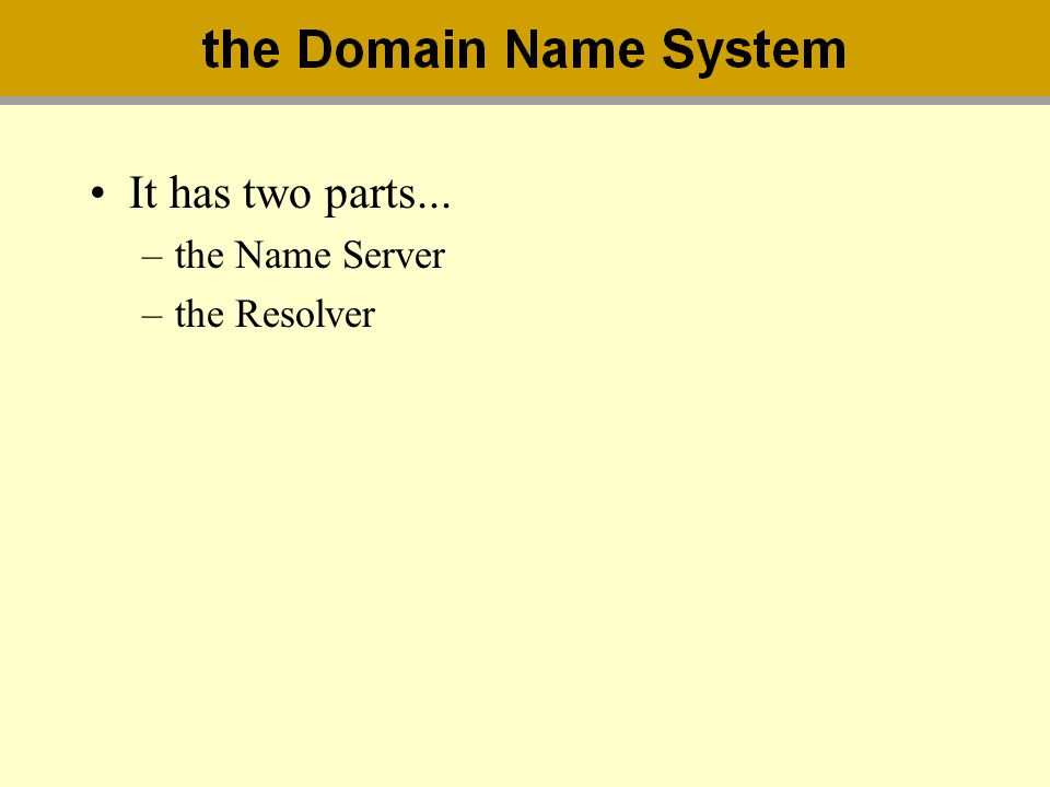 It has two parts... –the Name Server –the Resolver
