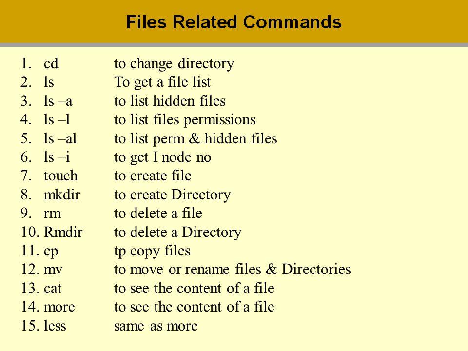 1.cdto change directory 2.lsTo get a file list 3.ls –ato list hidden files 4.ls –lto list files permissions 5.ls –alto list perm & hidden files 6.ls –