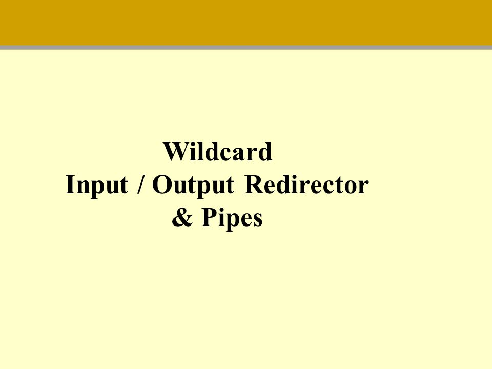 Wildcard Input / Output Redirector & Pipes