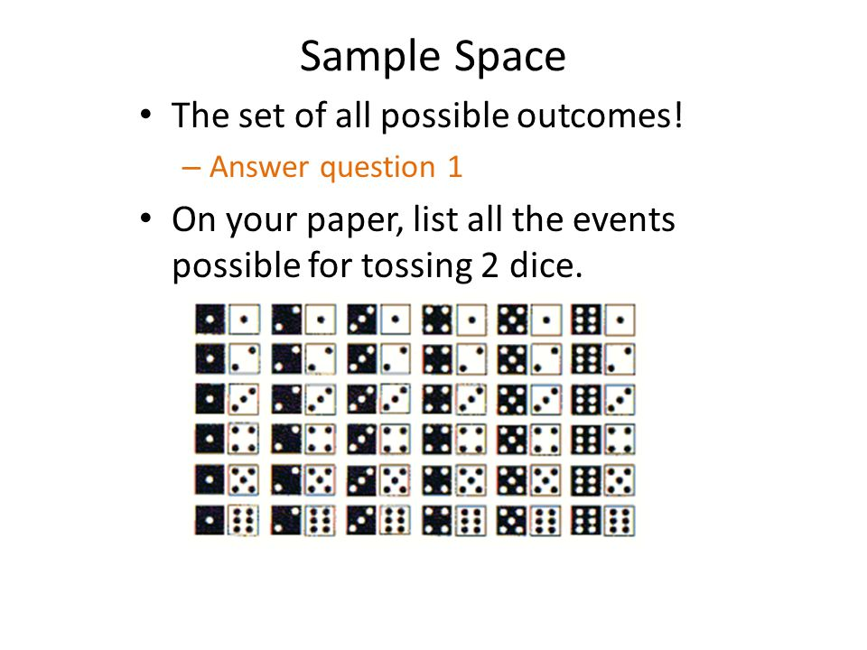 An Event Any one or combinations of possible outcomes – a subset of the sample space.