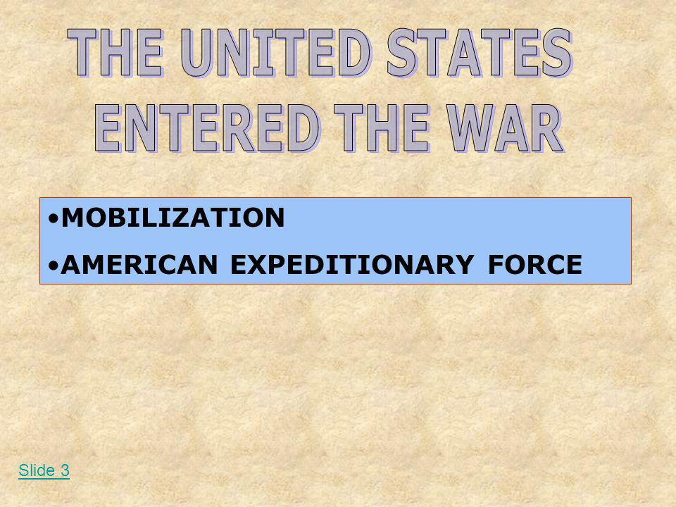 MOBILIZATION AMERICAN EXPEDITIONARY FORCE Slide 3