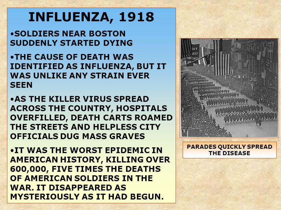 INFLUENZA, 1918 SOLDIERS NEAR BOSTON SUDDENLY STARTED DYING THE CAUSE OF DEATH WAS IDENTIFIED AS INFLUENZA, BUT IT WAS UNLIKE ANY STRAIN EVER SEEN AS