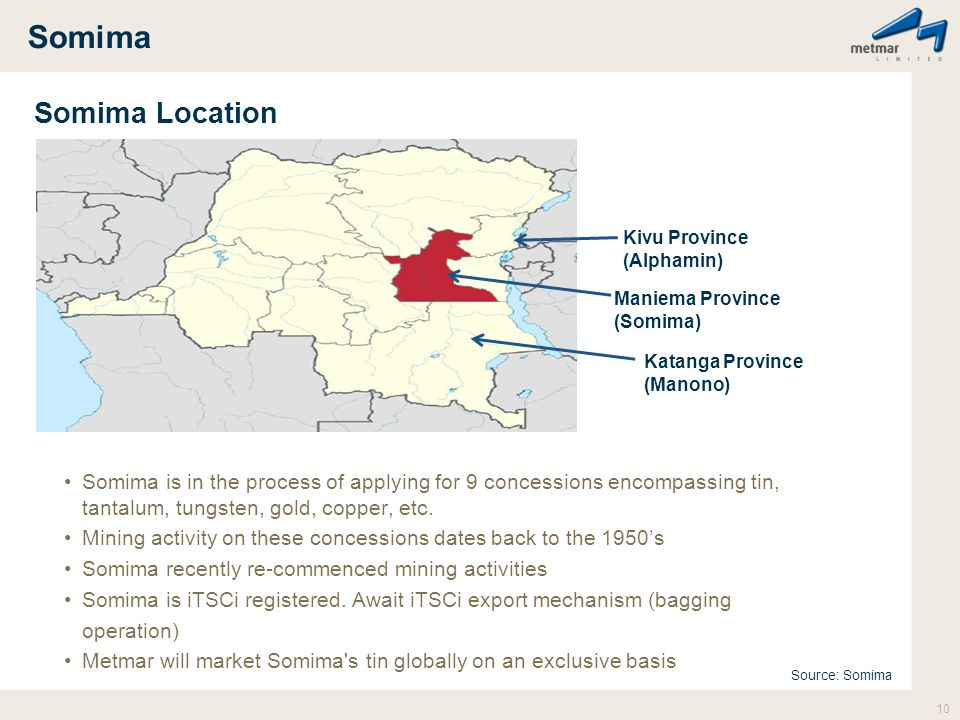 Somima Somima Location Somima is in the process of applying for 9 concessions encompassing tin, tantalum, tungsten, gold, copper, etc. Mining activity