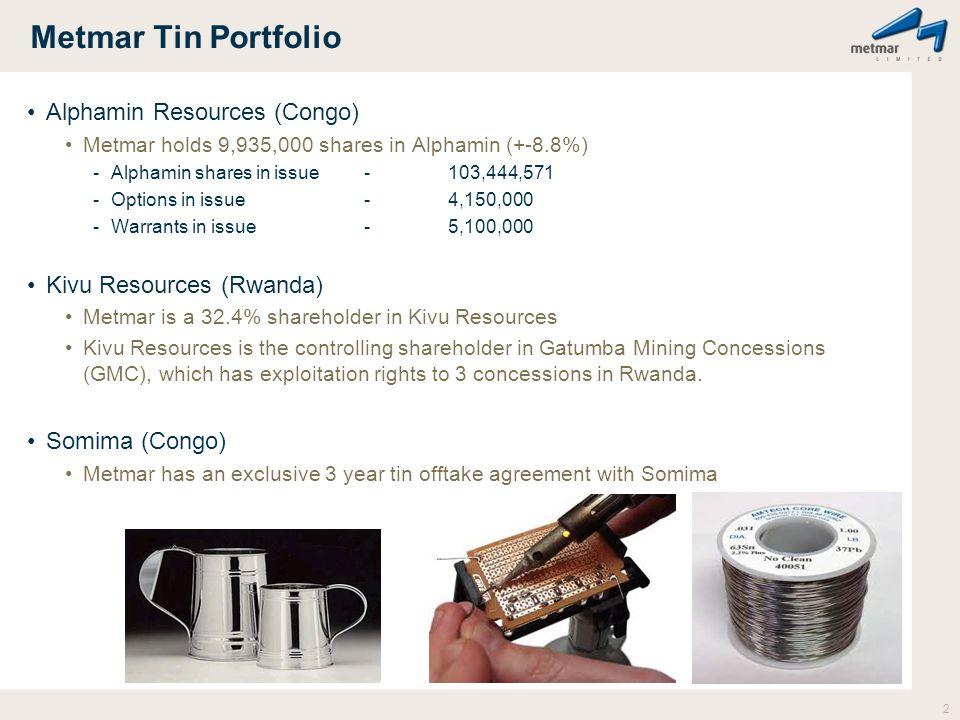 Metmar Tin Portfolio 2 Alphamin Resources (Congo) Metmar holds 9,935,000 shares in Alphamin (+-8.8%) -Alphamin shares in issue-103,444,571 -Options in