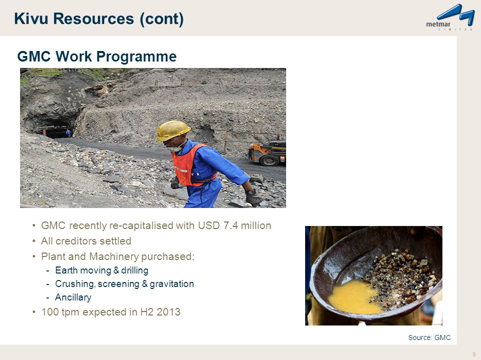 Kivu Resources (cont) GMC Work Programme GMC recently re-capitalised with USD 7.4 million All creditors settled Plant and Machinery purchased: -Earth