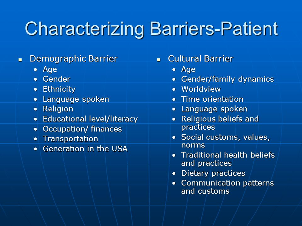 Characterizing Barriers-Patient Demographic Barrier Demographic Barrier AgeAge GenderGender EthnicityEthnicity Language spokenLanguage spoken Religion