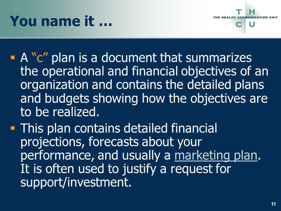 11 You name it … A c plan is a document that summarizes the operational and financial objectives of an organization and contains the detailed plans an
