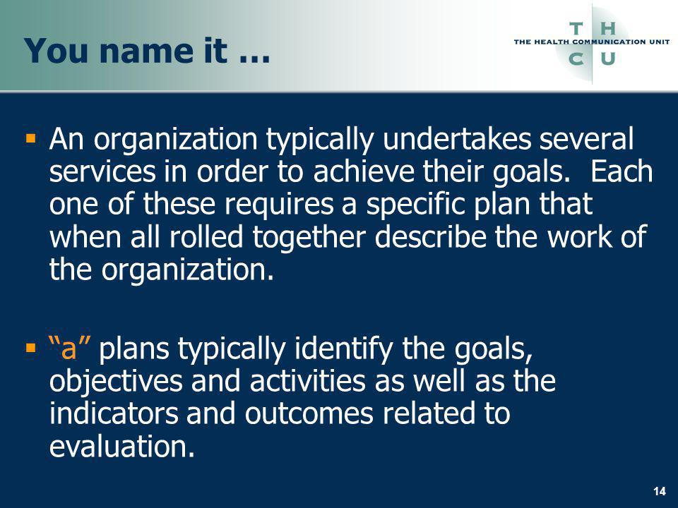 14 You name it … An organization typically undertakes several services in order to achieve their goals. Each one of these requires a specific plan tha