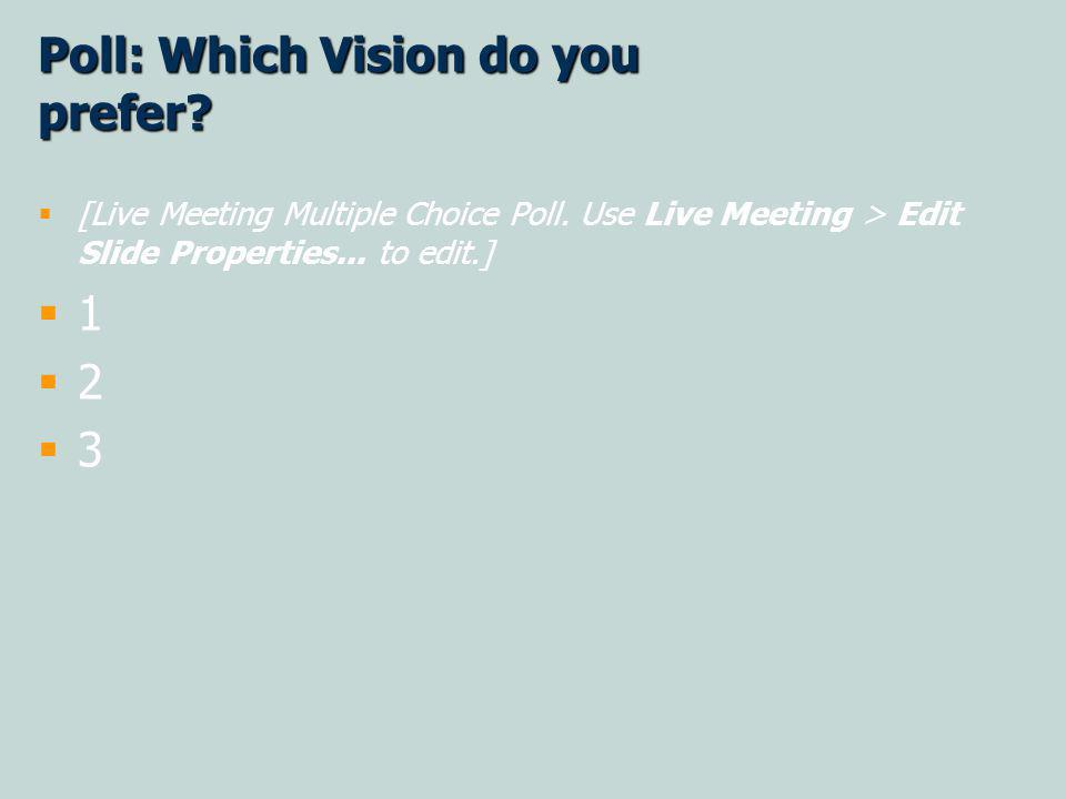 Poll: Which Vision do you prefer. [Live Meeting Multiple Choice Poll.