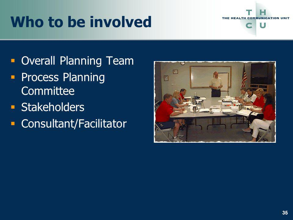 35 Who to be involved Overall Planning Team Process Planning Committee Stakeholders Consultant/Facilitator