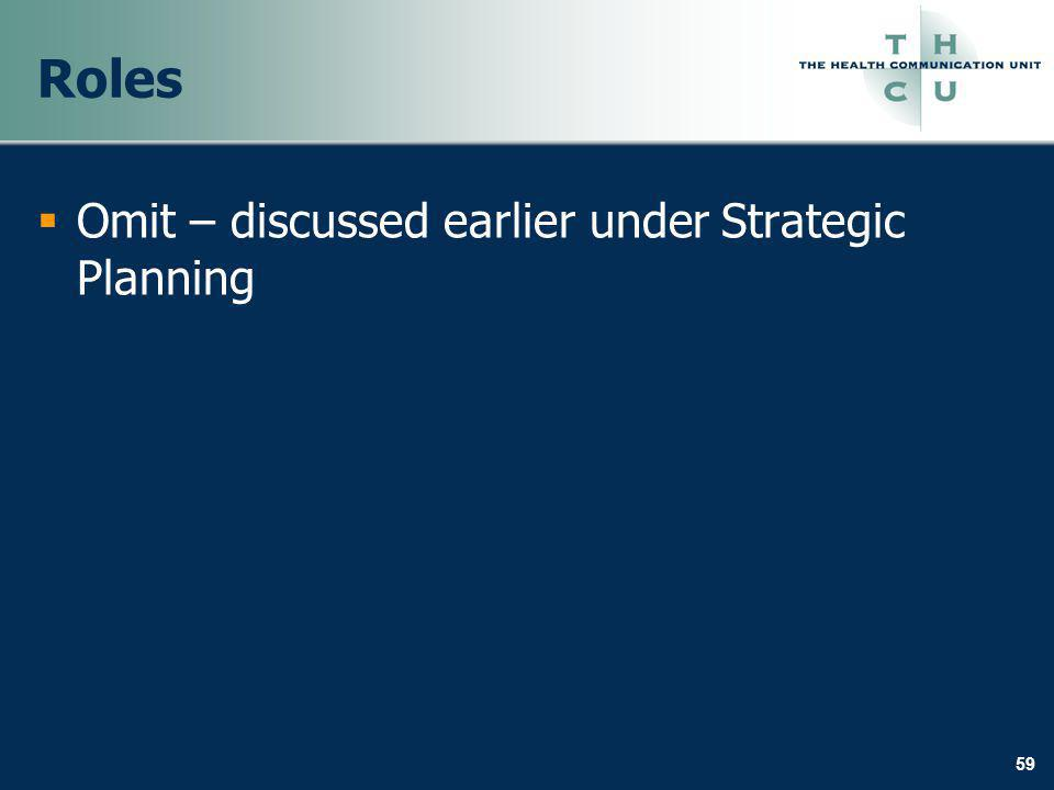59 Roles Omit – discussed earlier under Strategic Planning