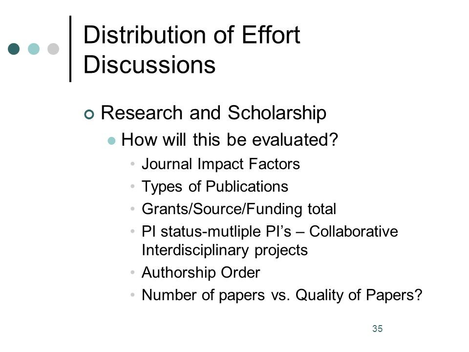 35 Distribution of Effort Discussions Research and Scholarship How will this be evaluated? Journal Impact Factors Types of Publications Grants/Source/