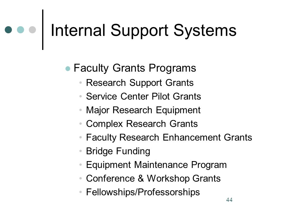 44 Internal Support Systems Faculty Grants Programs Research Support Grants Service Center Pilot Grants Major Research Equipment Complex Research Gran