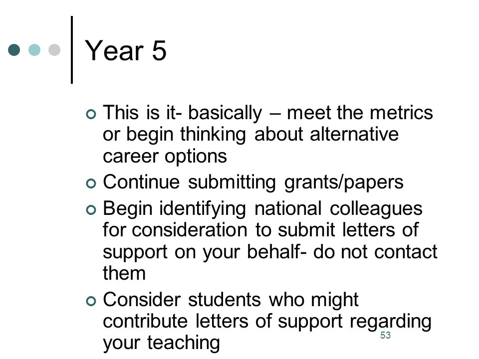 53 Year 5 This is it- basically – meet the metrics or begin thinking about alternative career options Continue submitting grants/papers Begin identify