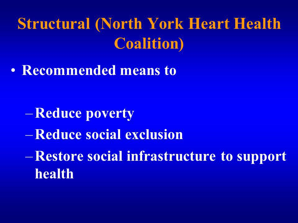 Recommended means to –Reduce poverty –Reduce social exclusion –Restore social infrastructure to support health Structural (North York Heart Health Coalition)