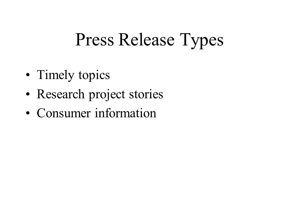 Press Release Types Timely topics Research project stories Consumer information