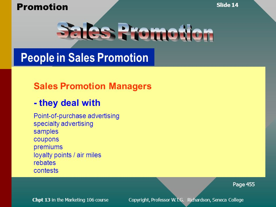 Slide 14 Promotion Chpt 13 in the Marketing 106 course Copyright, Professor W.T.G.
