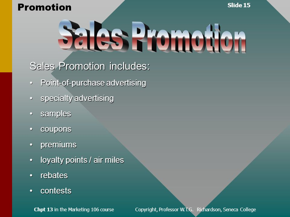 Slide 15 Promotion Chpt 13 in the Marketing 106 course Copyright, Professor W.T.G.