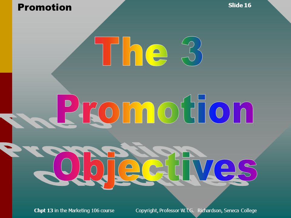Slide 16 Promotion Chpt 13 in the Marketing 106 course Copyright, Professor W.T.G.
