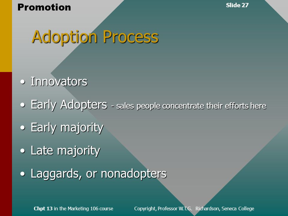 Slide 27 Promotion Chpt 13 in the Marketing 106 course Copyright, Professor W.T.G.