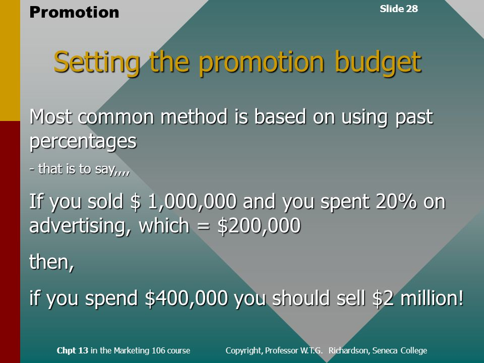 Slide 28 Promotion Chpt 13 in the Marketing 106 course Copyright, Professor W.T.G.
