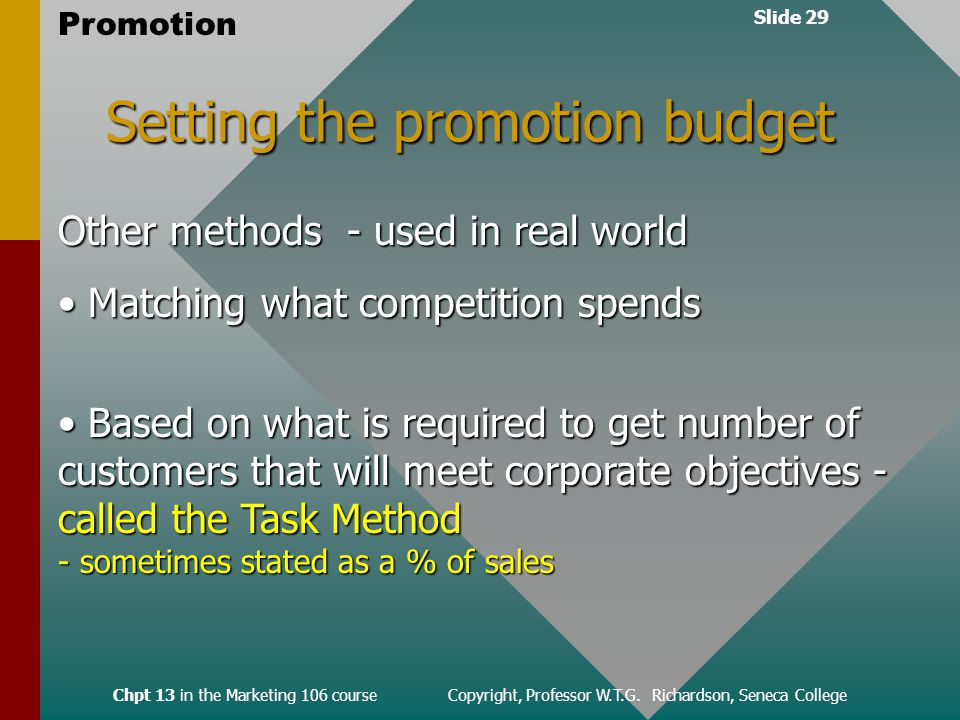 Slide 29 Promotion Chpt 13 in the Marketing 106 course Copyright, Professor W.T.G.