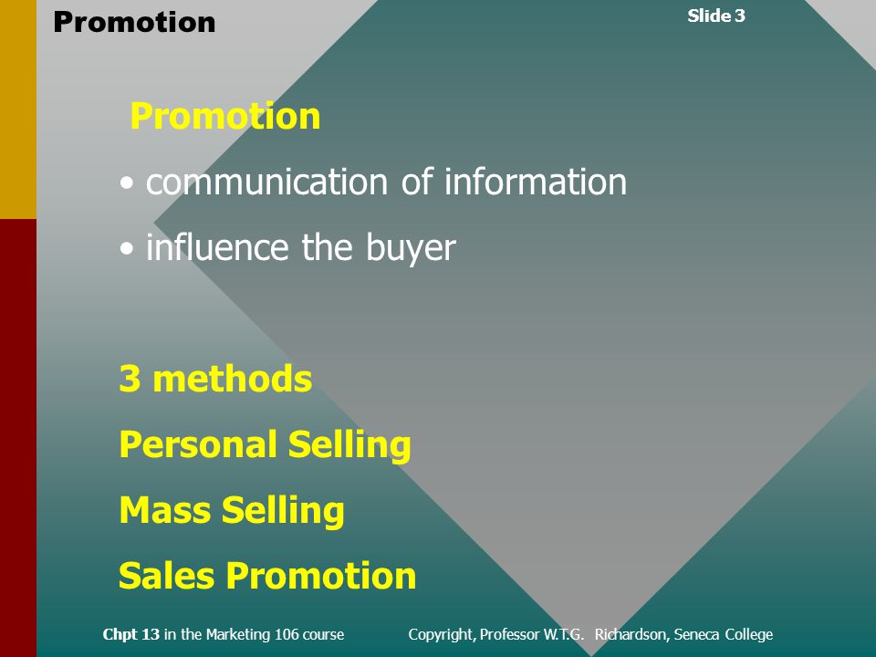 Slide 3 Promotion Chpt 13 in the Marketing 106 course Copyright, Professor W.T.G.